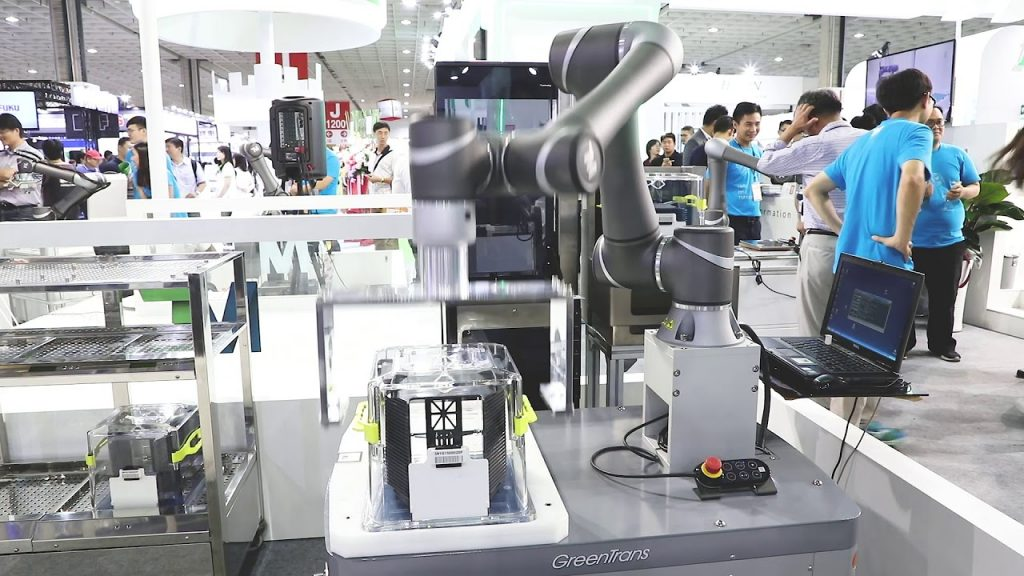 TM robot with AGV transporting wafers